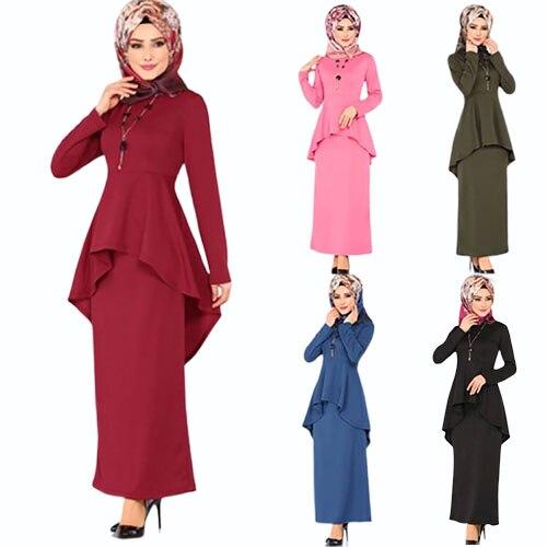 2019 New Elegent Autumn Fashion Style Muslim Women Plus Size Long Abaya S-5XL