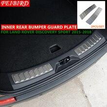 304 de aço inoxidável traseiro interior porta pára choques protetor placa do peitoril da porta guarnição para land rover discovery sport 2015 2016 2017 2018