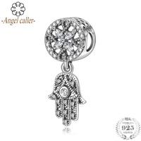 Angel Caller Real 925 Sterling Silver Vintage Hamsa Hand Bead fit Women Clear Zircon Charm Bracelet Necklace Fine Jewelry