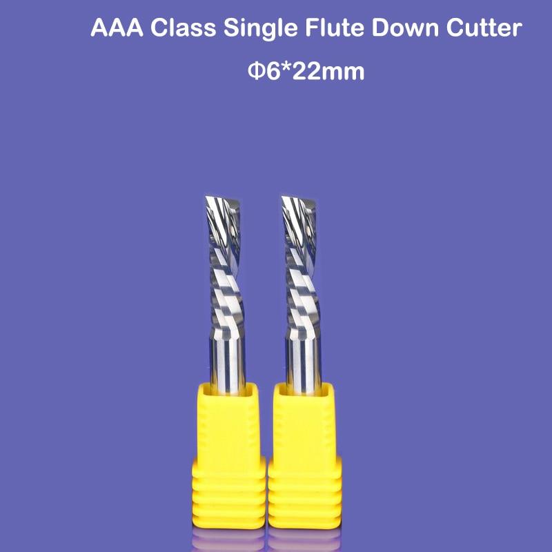 2db 6x22 mm-es balra vágó, egyhornyos volfrám-keményfém favágók CNC marás, famegmunkáló vágók Router bit