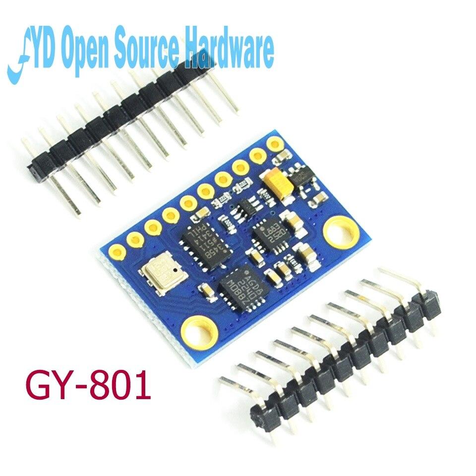 1 pièces GY-801 10DOF 9 Axes Indicateur Dassiette L3G4200D ADXL345 HMC5883L BMP180 module Remplacer BMP085