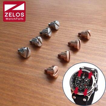 4 stuks/set horloge lug schroeven voor Tag Huer Mclaren Lacivert F1 Kasa celik horloge band/riem/riem fix schroef (rose goud/zilverkleurige)