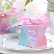 50 pcs/lot Multicolor Triangular Pyramid Style Wedding Favor Box and Bags Sweet Gift Candy Boxes for  Birthday Party Supplies