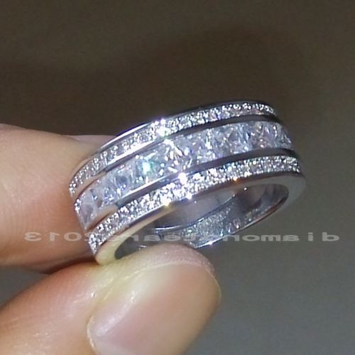 Sz5-11 Fashion Jewelry 10kt White Gold Filled White 5A Cubic Zirconia Simulated Stones Engagement Wedding Women Ring Gift