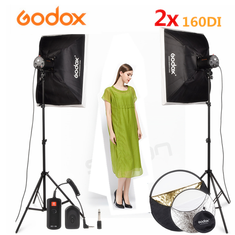 GODOX 2x160 Ws 110 V/220 V Fotografia In Studio Luce Video Flash di Luce Stroboscopica + Softbox + basamento chiaro + DC-Video Flash trigger