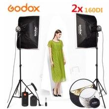 GODOX 2x160Ws 110V/220V Fotografia Studio Light Strobe Video Flash Light + Softbox + light stand + DC-04 Video Flash trigger