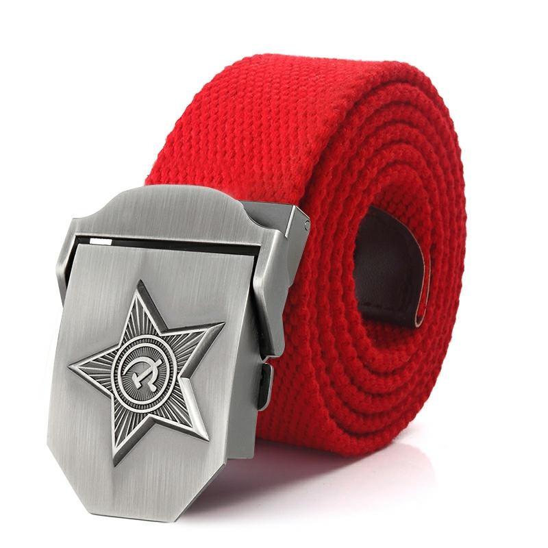New Men /& Women 3D Five Rays Star Belt Belt Canvas Jeans Belt