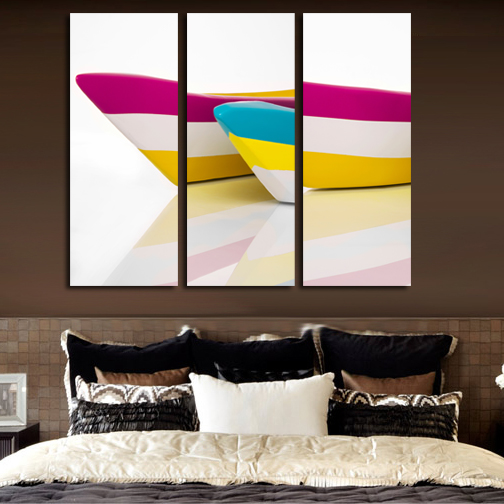 Print Painted Boat Oil Painting Simple And Elegant 3 Piece