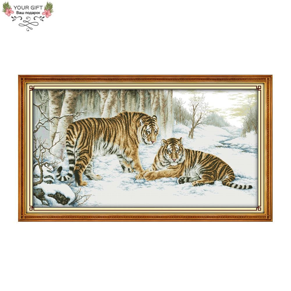 Joie Dimanche D210 14CT 11CT Estampillé et Compté Décoration Tigre Couture Broderie Croix Animale Point Kits