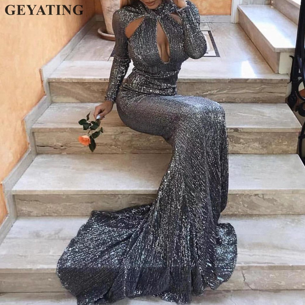Sexy High Neck Hollow Cut-out Mermaid   Prom     Dresses   Long Sleeves Gray Champagne Gold Sequined Evening Party Gowns Green Wine Red