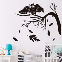 New arrival Autumn Tree Leaves Falling Owls Bird Wall Sticker Kids Rooms Vinyl Wall Art Stickers Decals Babys Home Decoration