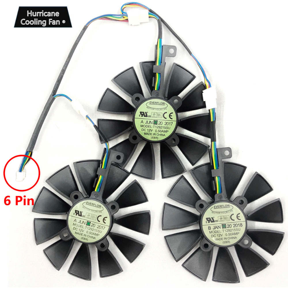 New 87MM T129215SU Graphics Card Cooling Fan for ASUS STRIX GTX 1060 1070 1080 1070Ti 1080Ti 980Ti /R9 390X R9 390 RX 480 580 image
