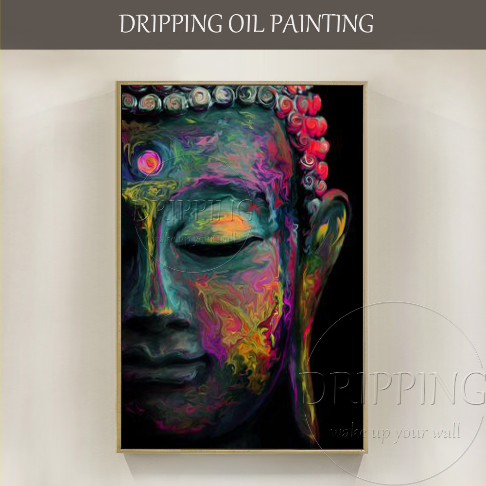 Hot Selling Artist Hand-painted Half Face of Buddha Oil Painting Abstract Rich Colors Buddha Figure Oil Painting for Living Room
