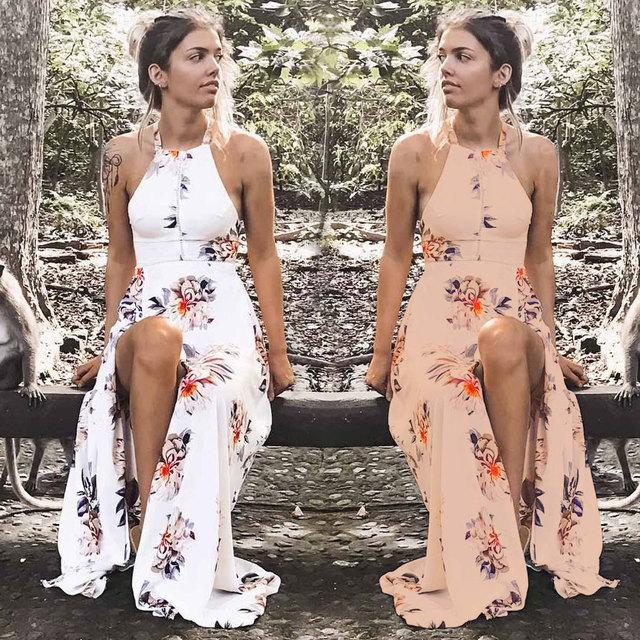 VITIANA Brand Women 2017 Summer Boho Style Beach Dress Off Shoulder Halter Vintage White Print Maxi Long Dresses