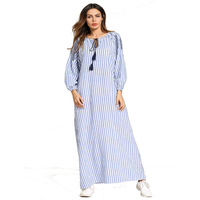 Women's dress Muslim long sleeved long sleeved dress embroidered striped dress middle east robe abaya gowns Ramadan Fashion