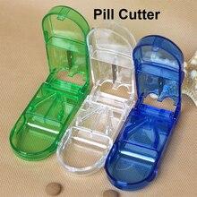 Práctico compartimiento de almacenamiento de pastillas caja de medicina soporte de tableta cortador seguro divisor medio cajón organizador caja de almacenamiento de plástico