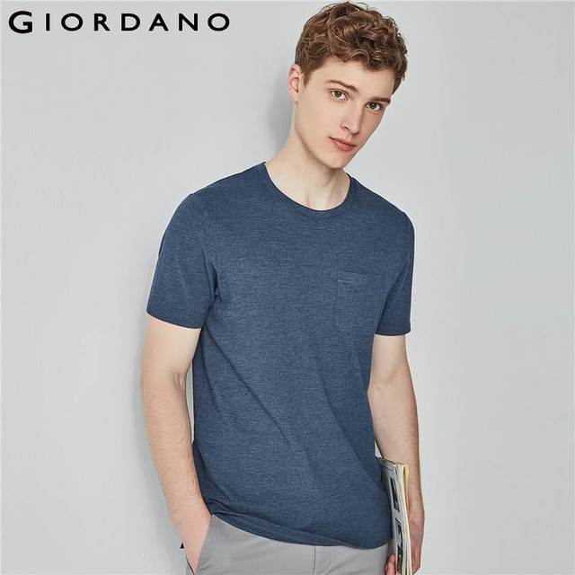 8b00f364d796 Giordano Men Tee Slim Fitting Crewneck Tshirt Solid Short Sleeves Tops  Pocket Casual Clothing Mens 2018 Collection