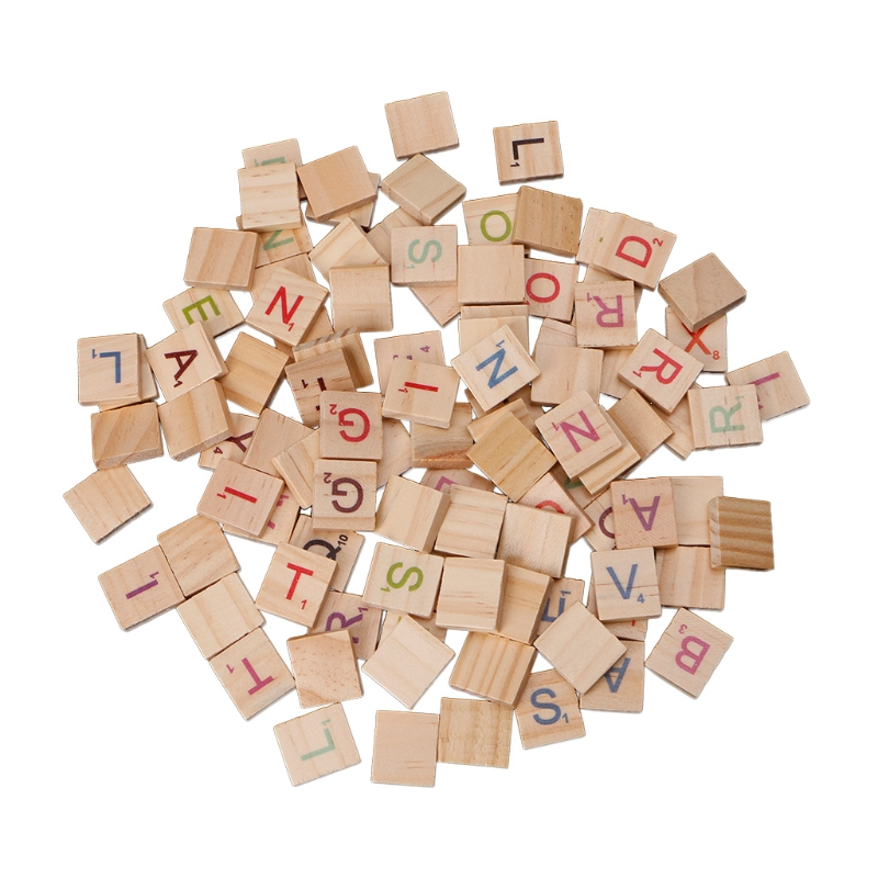 100X Wooden Scrabble Tiles Colorful Letters Numbers For Crafts Wood Alphabet Toy ...