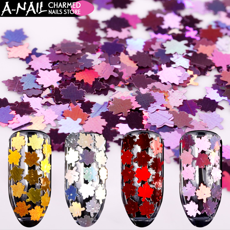 12 colors/set Holo metal color Maple leaf Nail glitter Sequins Holographic Acrylic Paillette tips 3D Nail art Deocorations tools 3d 12 candy colors glass fragments shape nail art sequins decals diy beauty salon tip free shipping