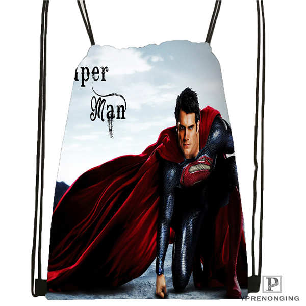 Custom Superman@1    Drawstring Backpack Bag Cute Daypack Kids Satchel (Black Back) 31x40cm#180612-02-9