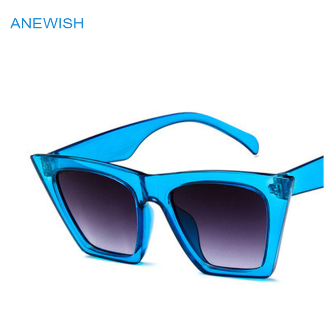 0db4a5354a9 2018 big new cool cat eye sunglasses women transparent blue sun glasses  trendy wild female square