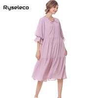 Ryseleco Hot Women Summer Autumn Ball Gown Pure Color Pleated High Waist Bow Ties O Neck