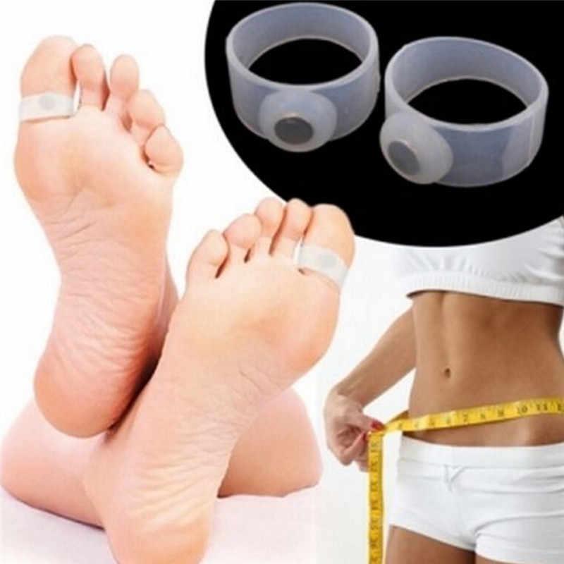 2 sztuk odchudzanie schudnąć narzędzie do pielęgnacji silikonowe masaż magnetyczny stóp pierścienie Toe