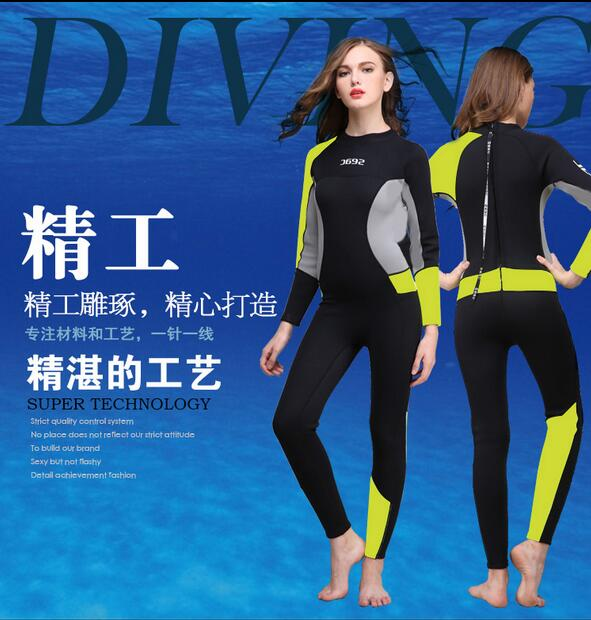 3mm women neoprene wetsuit,Jellyfish clothing,Surf Diving Equipment,long-sleeved piece fitted free shipping