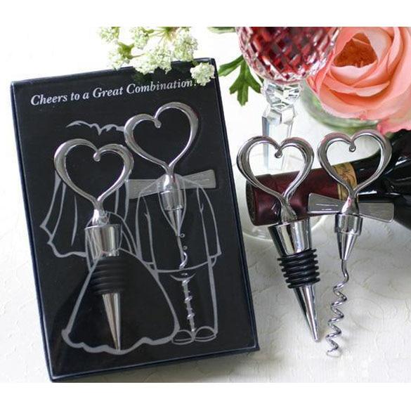Love Heart Corkscrew Wine Bottle Opener + Wine Stopper Wedding Gift Favors for guests Bottle Opener Set Wedding Decoration