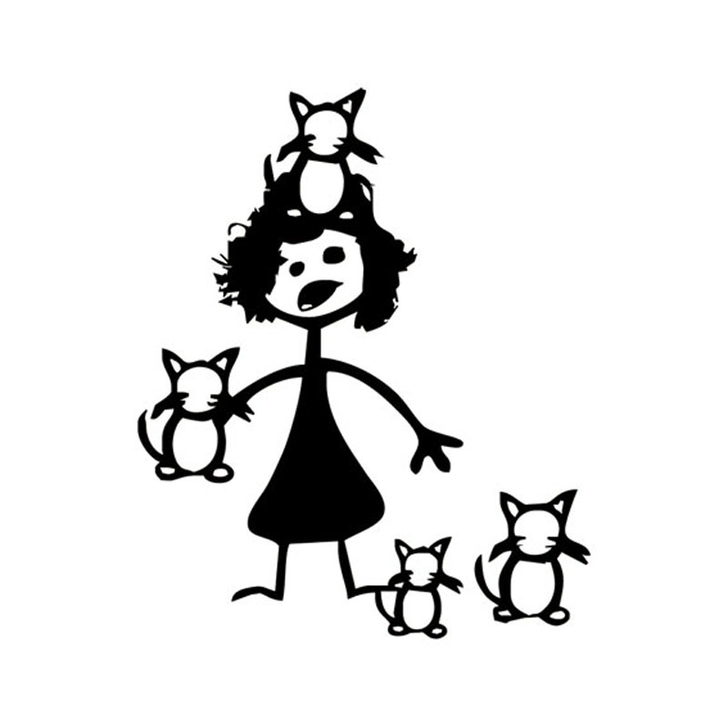 12.7*15.5CM Funny Crazy Cat Lady Car Stickers Cartoon Car Styling Vinyl Decals Black/Silver C7-1194