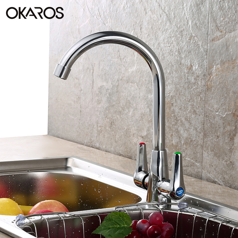 OKAROS Kitchen Faucet Laundry Sink Faucet Tap Chrome Plated Deck Mounted Dual Handle 360 Degree Hot