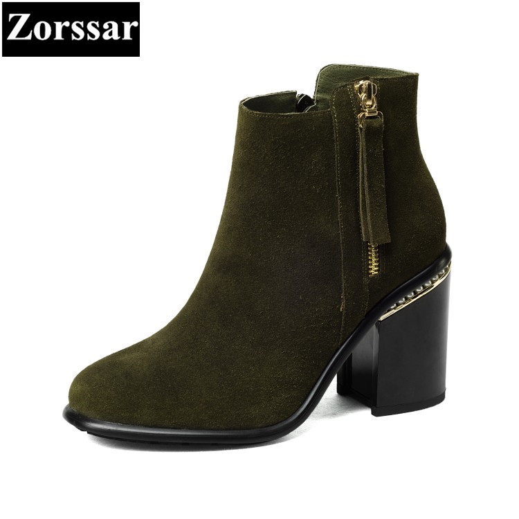 {Zorssar} 2018 NEW fashion tassel High heels Women Boots Round Toe thick heel ankle Martin boots autumn winter female shoes fringe wedges thick heels bow knot casual shoes new arrival round toe fashion high heels boots 20170119