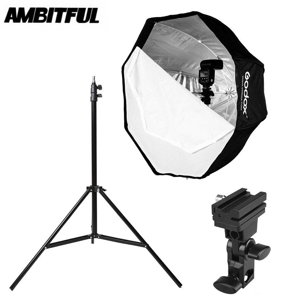 Godox 80cm 31 5in Octagon Umbrella Softbox 200cm Light stand Umbrella Hot Shoe Bracket Kit for