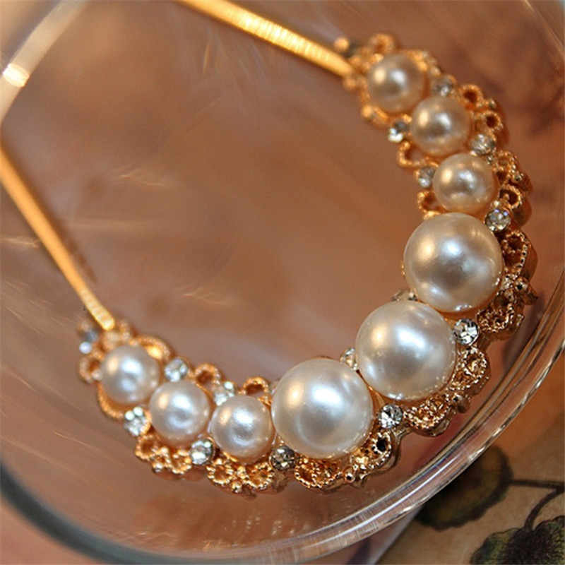 Ahmed Jewelry Fashion Lovely Gold Color Sweet White Pearl Hair AccessorHair Rope Sticks Headwear Hair Accessories for Ladies 16