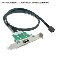 Cabledeconn Server Transmission Cable SFF 8088 Female to SFF 8643 Computer Hard Disk Data Cable 0.6m