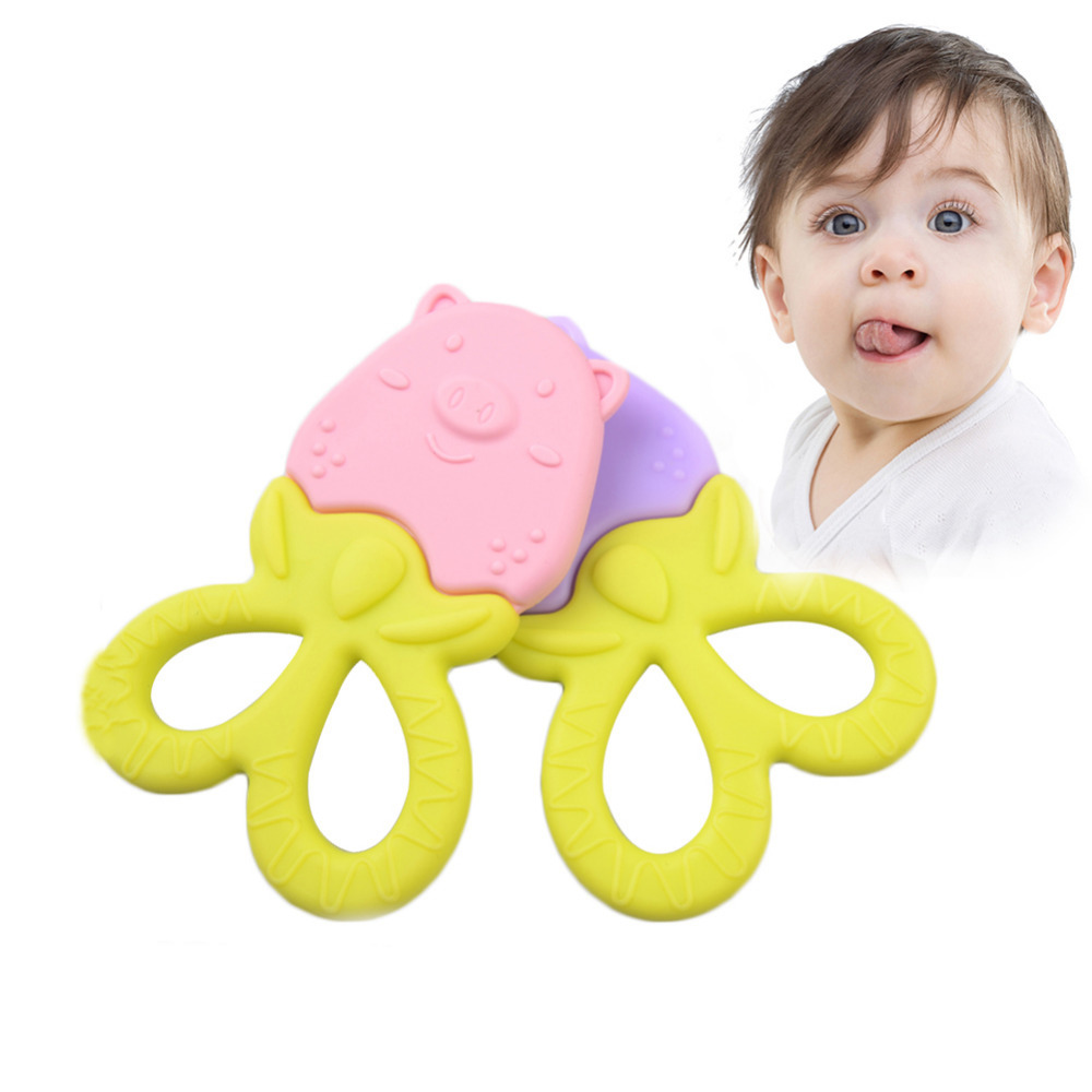 New Baby Teethers Food Grade Silicone Cartoon Pig Shape Teether Baby Dental Care Toothbrush Training Baby Care Teething Toys