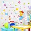 Free Shipping !2017 Hot Sale Children color cartoon bubbles Wall Sticker Wall Mural Home Decor Room Decals Wallpaper