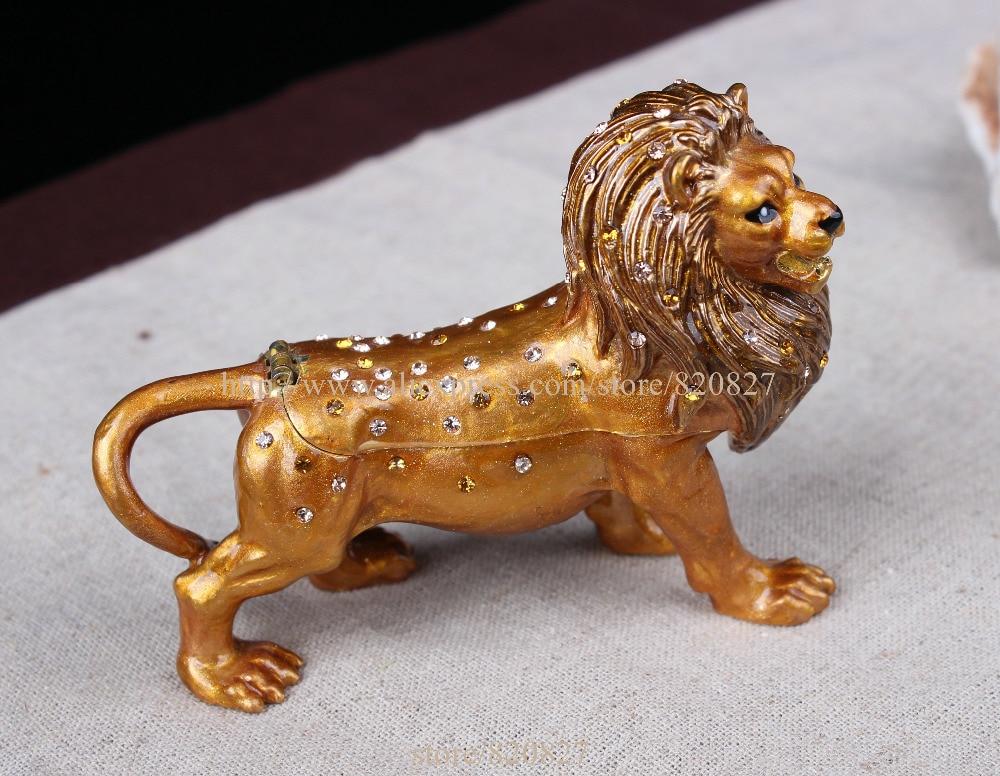 Metal Box Roaring Lion Bejeweled Crystals Jewelry Trinket Box Jewel Gift Box for Man Gifts Set Boxes jewel box