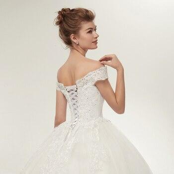 Fansmile Vestidos de Noivas Vintage White Long Train Wedding Dresses 2019 Plus Size Customized Lace Ball Bridal Gowns FSM-121T 6