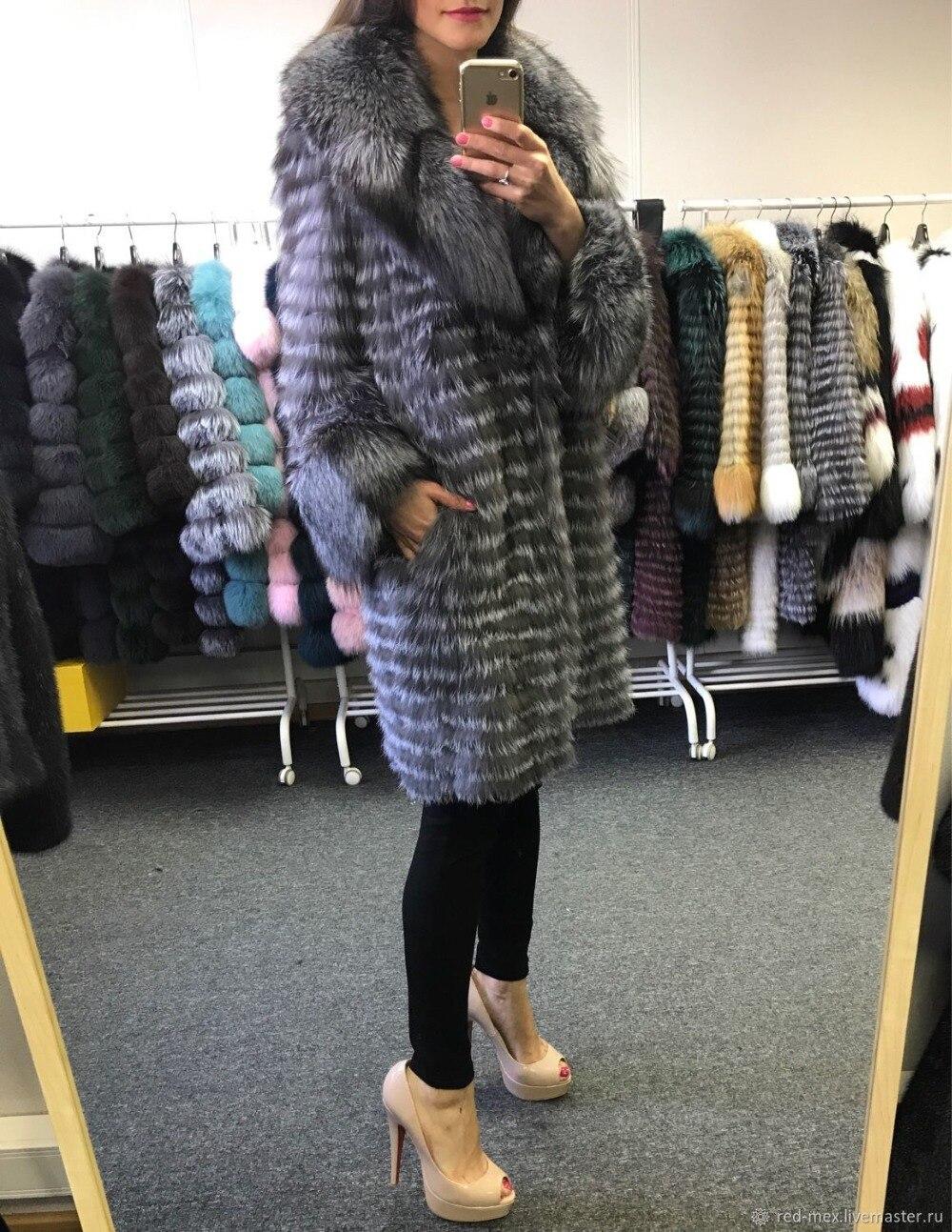 Chaud D'hiver Manteaux Avec Réel Long Manteau Silver Mode En Fourrure Renard Vestes Fox Whoesale Et blue À Pour Dames Big Silver Col De HYD29IWE