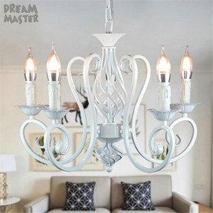 Image 5 - Biały żyrandol w stylu nordyckim wragh żelaza lustre lampa do salonu 220V 110V jadalnia sypialnia żyrandol Foyer