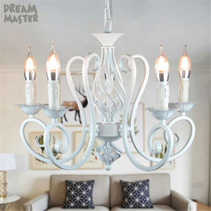 Image 5 - Bianco Nordic Lampadario Wrough Ferro lustre lampada Per Soggiorno 220V 110V sala da pranzo camera da letto Foyer Lampadario di Illuminazione