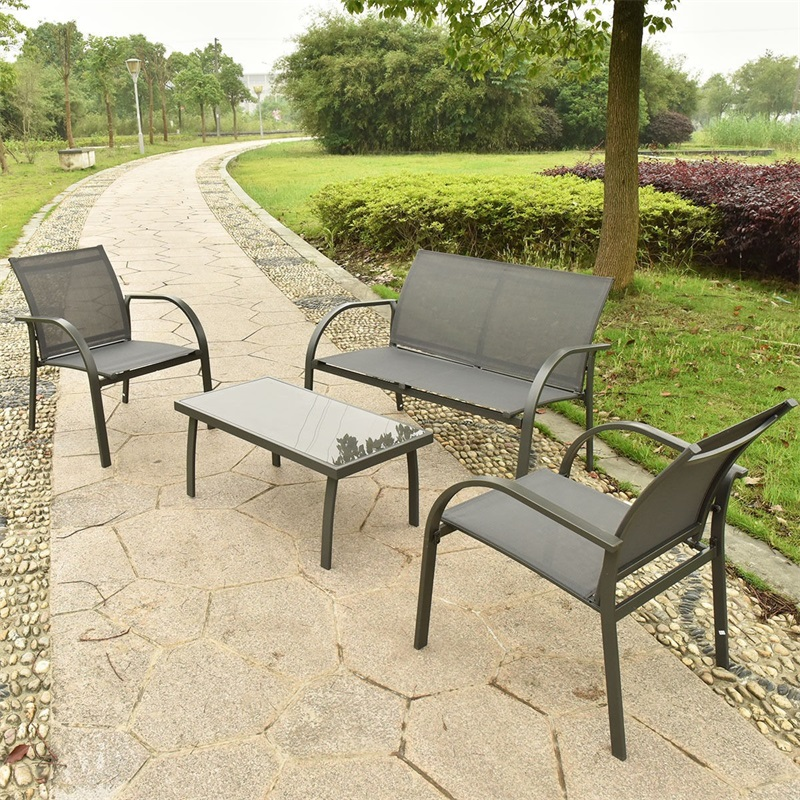 Fantastic Us 170 02 30 Off 4 Pcs Outdoor Patio Steel Table Chairs Sets Garden Furniture Chairs And Sofa With Armrest Glass Top Coffee Table Hw52143 In Garden Creativecarmelina Interior Chair Design Creativecarmelinacom