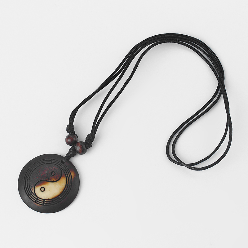 Yak Bone Yin Yang Resin Ba Gua Necklace 2