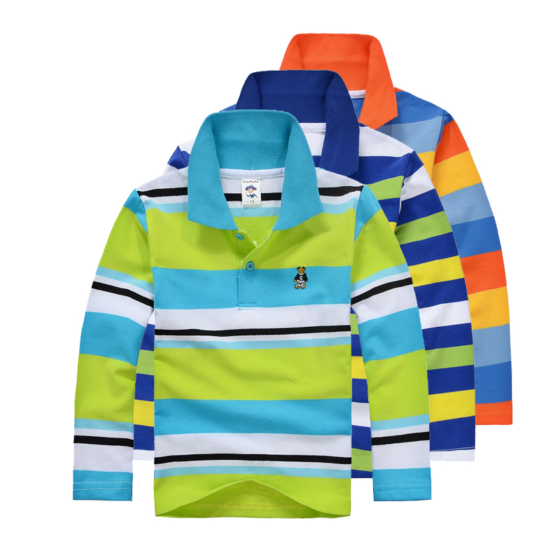 High Quality Boys T-shirt Kids Tees Baby Boy brand t shirts Children Polo Shirts Long Sleeve Striped Cardigan Sweater Shirts