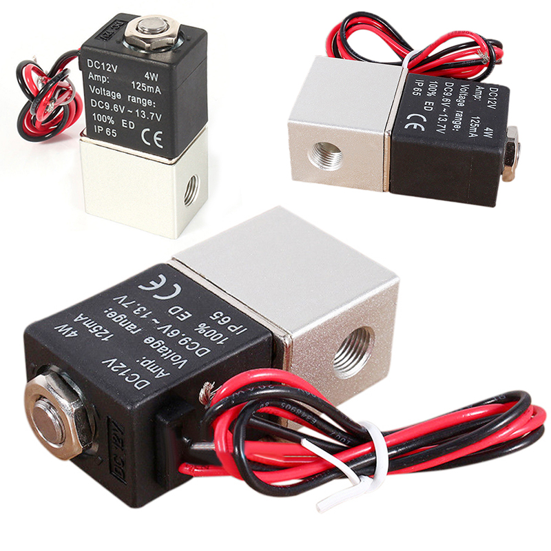 1/8 2 Way Normally Closed Solenoid Valve 2V025-1/8-12VDC Pneumatic Direct-acting Valve For Water Air Gas free shipping normally closed solenoid valve 2v025 08 220vac 1 4 high qulity for water air gas 2v sereis two way valve