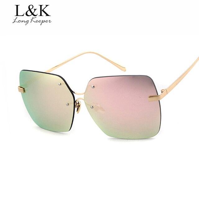 e4aed8e0463ee حارس طويل أزياء النساء الرجال النظارات بدون مربع التدرج زجاج كريستال نظارات  عاكس مرآة النظارات J1073M