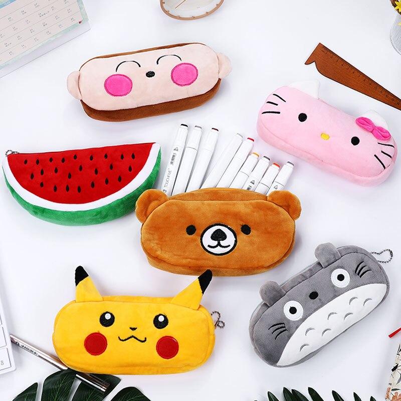 Kawaii de Bande Dessinée stylo cas Totoro en peluche Sourire Visage Emoji Mignon Crayon cas D'école Minecraft etui trousse scolaire stylo пенал 0