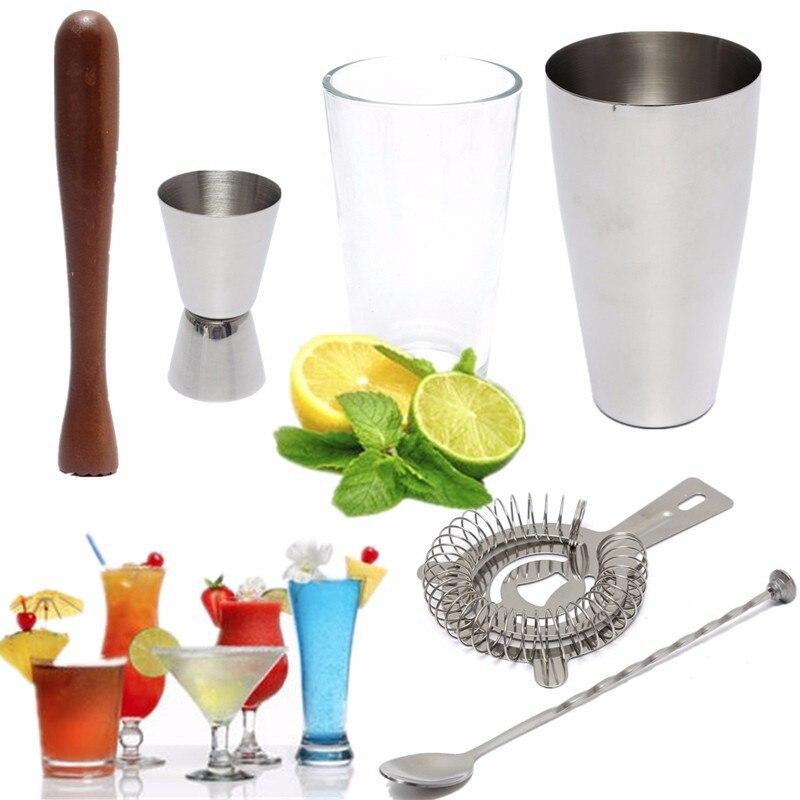 Hot Selling 6Pcs set Stainless Steel DIY Cocktail Shaker Mixer Drink Bars Bartender Set Tools Kit