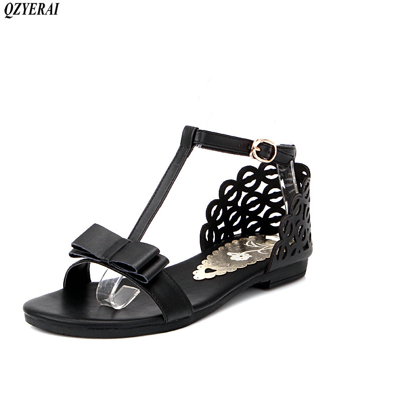 QZYERAI Hot sale 3 colors women sandals peep toe T strap rhinestone ladies flat sandals ladies dress shoes woman stylish women s sandals with t strap and peep toe design